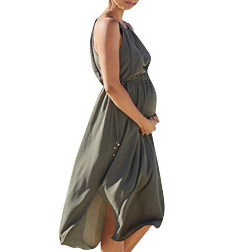 Umstandskleid ärmelloses Schwangeres Mutterschafts Kleid Fester, der Reizvoller Strand Stillkleid, Ärmellos Stillkleid Skaterkleid Kleider für Schwangere Maternity Schwangerschaftskleid - Gürtel Schaukel Baby