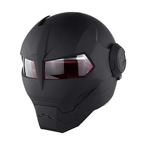 D. O. T Casco Certificato Moto Motocross Full Face Casco Moto Flip Aperto Maschera Casco, Iron Man Trasformatori-M, L, XL,Black,M