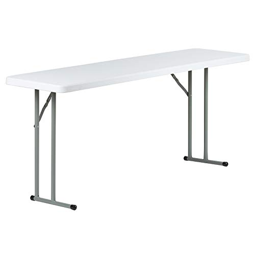 6' Esstisch (Hartleys - Rechteckiger Tisch mit einklappbaren Beinen - weiß - schmal (45,5cm) - 180cm/6ft lang)