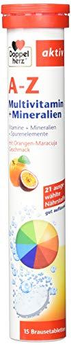 Doppelherz A-Z Brausetabletten mit Orange-Maracuja Geschmack - Multivitamin-Nahrungsergänzungsmittel mit vielen wichtigen Vitaminen, Mineralstoffen & Spurenelementen - 15 Brausetabletten (1 Packung)