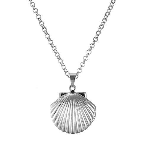 NiceButy Meerjungfrau Muschel-Anhänger Halskette Strand Tag Kupfer Silber Kleine Muschel Schmuck und Accessoires aus Nautik Valentinstag