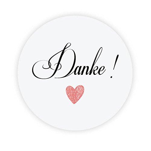 eKunSTreet ® 48 Stk Liebe-Herz Danke Aufkleber Sticker - 4 cm Glossy selbstklebende Papieraufkleber Etiketten für Gastgeschenk,Vintage Hochzeit,Flaschen,Tüten, Briefen, Danksagungen - DTY 016