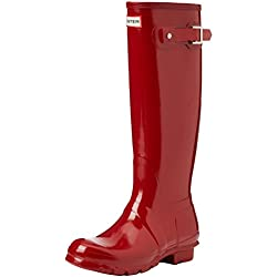Hunter Tall Gloss Botas Impermeable Para Mujer Color Rojo