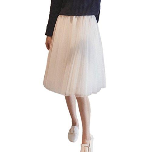 EFINNY Frauen Mädchen Puffy Midi Rock Sheer Mesh Ballett Tanz Fee Tüll Party Kleid (Spitzen-school-mädchen Top)
