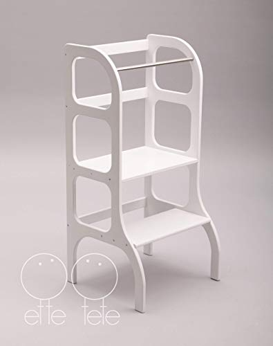 Torre di apprendimento, Montessori furniture learning tower, toddler kitchen helper step stool - WHITE color
