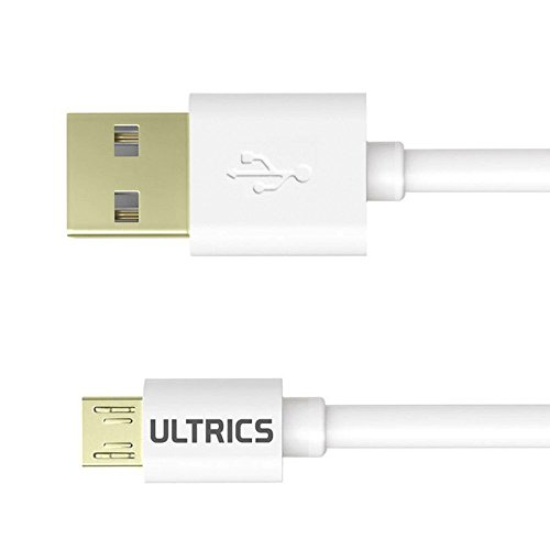ULTRICS® 2 Meter, 6ft Premium quality High Speed Micro USB Male to Male Data Sync Charger Cable Lead for Android, Samsung, HTC, Motorola, Nokia and More (White)