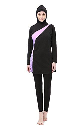BOZEVON Muslimischen Badeanzug - Muslim Islamischen Bescheidene Badebekleidung Modest Swimwear Beachwear Burkini für Damen, Schwarz+Violett, EU M=Tag L