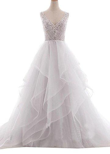 Frauen 2018 A-Linie Organza Tüll V-Ausschnitt Perlen Open Back Rüschen Hochzeitskleid