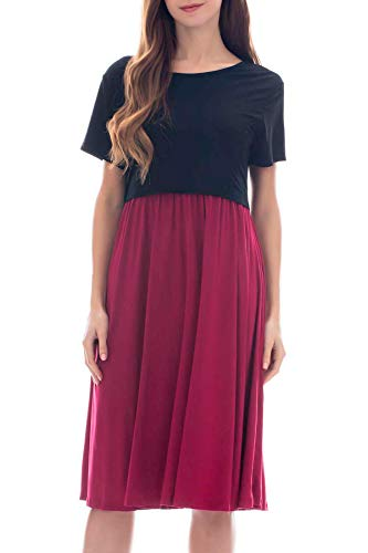 Floral-design-kurzarm-top (Smallshow Damen Umstandsmode Stillkleid Patchwork Umstandskleid Casual Kurzarm Schwangerschaft Umstands Kleid Wine M)