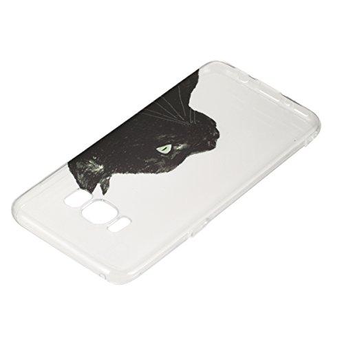 Coque Galaxy S8 Plus,Coque en Soft Silicone TPU Transparente pour Samsung Galaxy S8 Plus,Ekakashop Ultra Slim-fit Jolie Dolphins Jouer Dessin Antidérapant Coque de Protection TPU Flexible Souple Case  Tête du Chat Noir