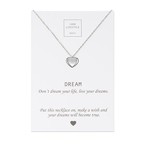 Luuk lifestyle gioielli donna, gift card, collana con ciondolo a forma di cuore e biglietto regalo con frase dream, portafortuna, gioielli donna, gift card, argento