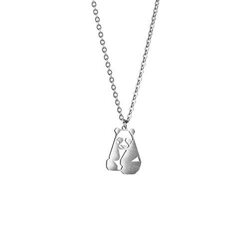 La menagerie panda argento, collana geometrica d'argento con ciondolo animali origami - bigiotteria placcata in argento sterling 925 & collana donna panda stilizzato - gioielli geometrici
