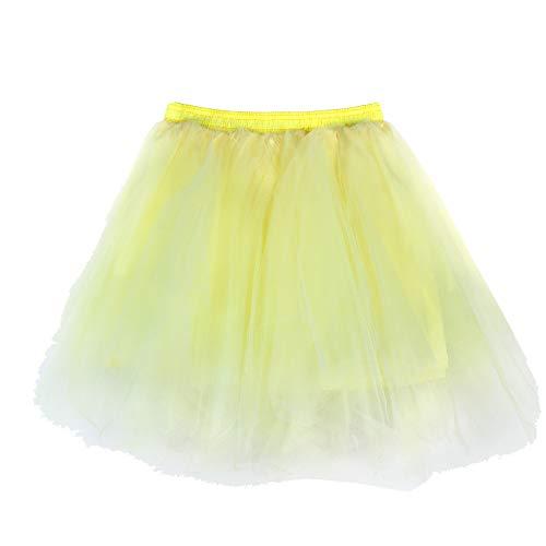 Andouy Damen Tutu Rock Tüll Mix Bunte Petticoat Ballett Tanz Organza Geschichteten Kostüm Dress-up sexy Größe 36-46(36-46,Hellgelb)