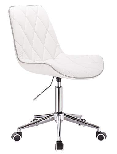 1stuff® Designer Bürostuhl SAMU - höhenverstellbar - Drehsessel Drehstuhl Kosmetikstuhl Schreibtischstuhl (Lederimitat weiß)