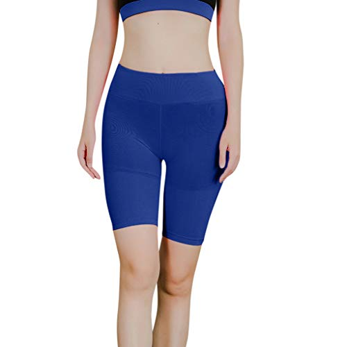 KUDICO Yogahose Leggings für Damen Sommer Shorts Einfarbig Lässige Sporthose Hohe Taillen Kurze Hose Fitness Hot Pants(Blau, XS)