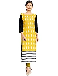 Ziyaa Women's Multicoloured Boat Neck With 3/4 Sleeve Crepe Digital Print Straight Kurta (ZIKUCR396)