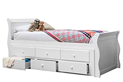 Sleep Design Wilmslow White Wooden Kids Captain Sleigh Bed with Guest Bed Trundle and Storage Drawers Single Size