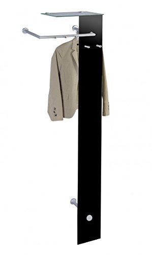 Dreams4Home Garderobe 'Alamo' schwarz lackiert Glas Chrom Wandgarderobe Kleiderstange Garderobenstange Flurgarderobe 5 Haken 55 x 190 cm