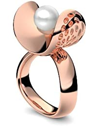 Golfschmuck Golf Schmuck Rotgold Ring Akoya Perle weiß 585 + inkl. Luxusetui + Akoya Perle weiß Ring Rotgold Perlenring Rotgold (Rotgold 585) - Pearl Symbiosis Amoonic AM253 RG585PWPE