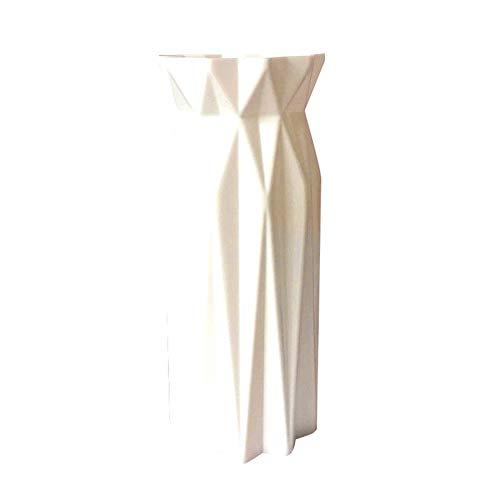 XdremYU - Jarrón origami geométrico flores, Blanco