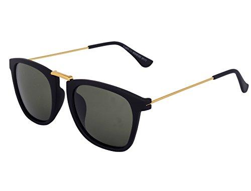 Silver Kartz Wayfarer Unisex Sunglasses (Wy070_40_Black)