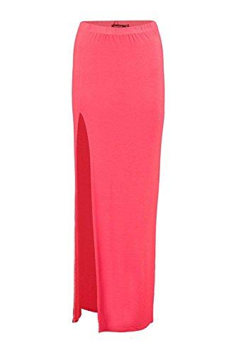 Orange Soraya Thigh Split Jersey Maxi Skirt Orange