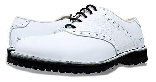 PORTMANN Saddle Classic Spikeless Herren Golfschuhe, hochwertiges Leder, geschweißter Schuh, Extraleicht und Flexibilität, Komfort und Passform, Pure Drive Tec. 43 White Cal.\ White Croco