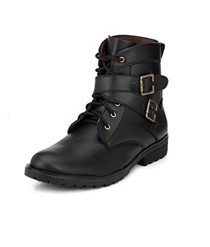 Knoos Men's Black Synthetic Leather Heatbeat Boots (WAV-913, Size: 8 UK/IND)-WAV-913-BL-8