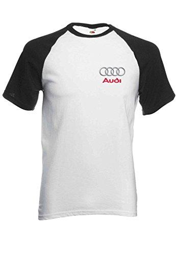 Audi Logo S R8 Line Pocket Print Novelty Black/White Men Women Unisex Short Sleeve Baseball T Shirt-XXL -