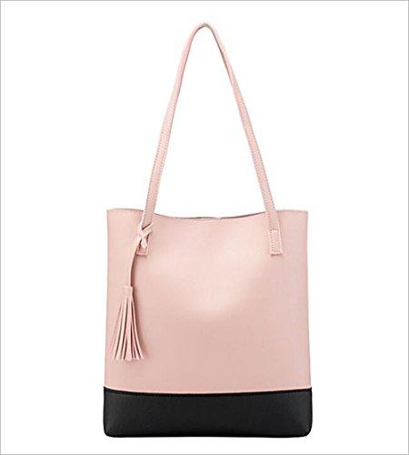 Grosse Kapazität Tote Schultertasche Handtasche mit Quaste für Frauen Pu-Leder Eimer Tasche Griff Handtasche Mädchen Geldbörsen Einkaufstasche Geeignet für den täglichen Gebrauch ( Farbe : Rosa )