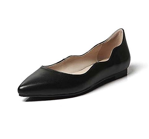 New Women Leather Finger punteado Shoes Flat Comfortable Simple Casual Ballerina Pump Shoes, Black, 39