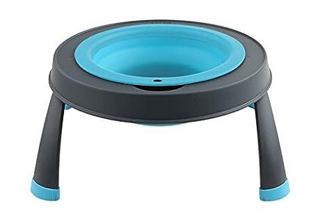 Dexas Popware Single Elevated Pet Feeder Adjustable Height Blue Sm 1.5cup 12oz
