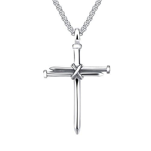 tahl Nagel Kreuz Charm Anhänger Halskette Kette 22 Zoll, Poliersilber (Nagel Halskette)