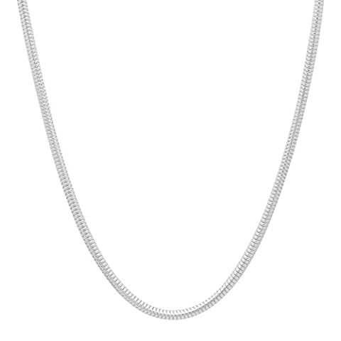 Solid 925 Sterling Silver 2mm Snake Chain Necklace Made in Italy, 45 cm