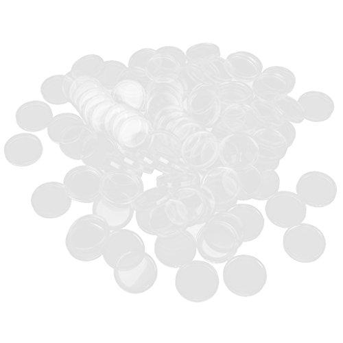 100 Boxed Capsule Per Monete Porta Monete Colore 23 Millimetri Trasparente