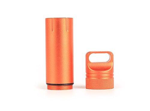 Nopea Wasserdichte Box Mini Pillendose Kapsel Pillenbox Wasserdichte Abdichtung Cash Stash Schlüsselanhänger AufbewahrungsBox klein Tablettendose Kapsel Pillen Dose Aluminium Orange
