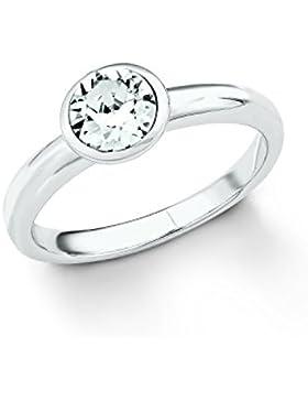 s.Oliver Damen-Ring 925 Silber rhodiniert Kristall weiß - 20186S