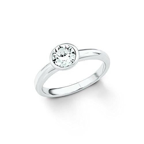 s.Oliver Damen-Ring 925 Swarovski Kristall, Silber rhodiniert, weiß Gr. 56 (17.8), 2018660