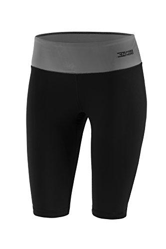 Freenord FITTECH Performance Damen Thermoaktiv Legging Leggins Strumpfhose Tights Shorts Laufhose Kurz Fitness Pilates Outdoor Radsport Running (Schwarz/Grau, L)