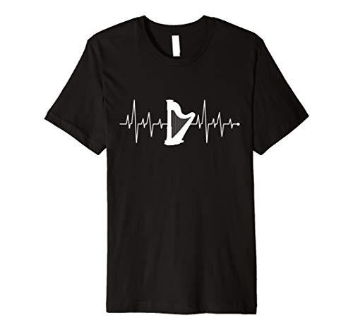 Herzschlag Herzfrequenz Herzlinie Harfe Harfen Spieler Shirt