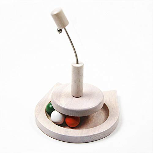 DLDL Pet Interactive Fun Roller, Eiche Katze Plattenspieler mit Glocke Farbige Kugeln Katze Teaser Ball Eingebauter hölzerner Catball Toy Lustige Puzzle Intelligence Games Spielzeug für Katzen - Eiche Plattenspieler