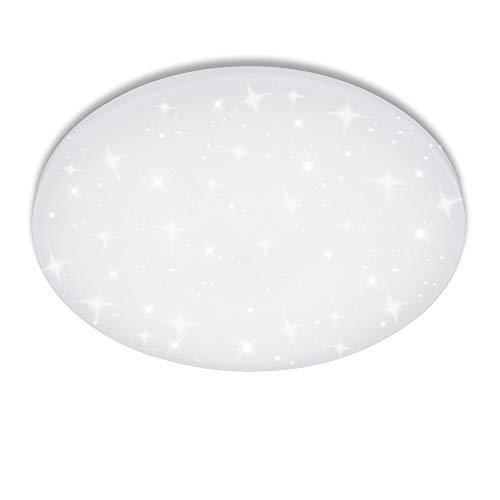 flur deckenleuchte VINGO 16W LED Deckenbeleuchtung Rund Deckenlampe Starlight Effekt Schön Wohnraum Wohnzimmer Lampe Weiß, Kunststoff, 16w Weiß Rund