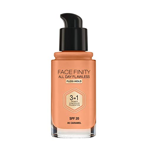 Max Factor Facefinity All Day Flawless 3 in 1 Foundation in Caramel 85 - Primer, Concealer & Foundation in einem - Für ein perfekt mattiertes Finish - 1 x 30 ml -