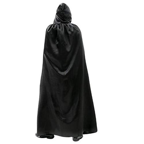 ZXX5211 Erwachsene Lange Satin Mantel Halloween Weihnachtsfeier Mit Kapuze Phantasie Cape Cosplay Kostüm Unisex Kleid Robe, - Robe Sexy Kapuzen Kostüm