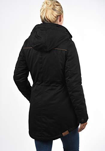 DESIRES Annabelle Damen Übergangsparka Parka Übergangsjacke Lange Jacke mit Kapuze, Größe:XS, Farbe:Black (9000) - 3