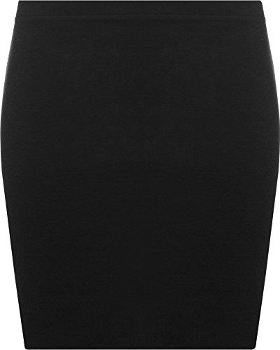 WearAll - Damen Bodycon Elastisch Micro Mini Skirt Gummizug Kurze - Schwarz - 36-38 - Micro Mini Stretch Rock