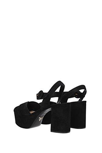 Sandales Prada Femme - Suède (1XP882) EU Noir
