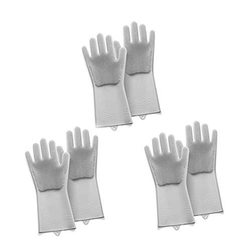 Food Grade Silikon Abwasch Handschuhe, wiederverwendbare Scrubber Handschuhe, hitzebeständig und reinigen, Geeignet für Home/Auto/Tier/Badezimmer, 3 Paare,Grau