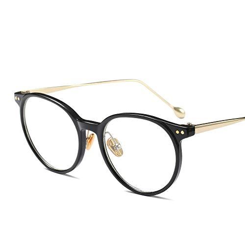 Retro High Fashion Metall Tempel Horn umrandeten klare BrillengläserMänner und Frauen Brille (Farbe : Schwarz)