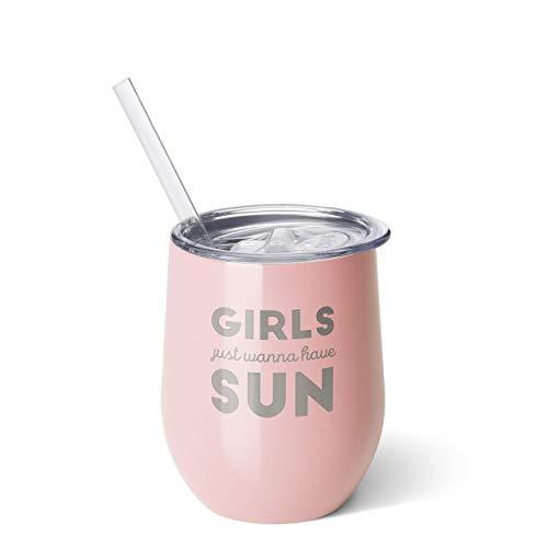 Swig Life Edelstahl-Isolierter Weinbecher mit Schiebedeckel und Strohhalm, 340 ml Girls Just Wanna Have Sun